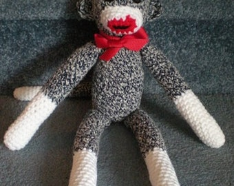 Made to order, Hand crocheted Sock Monkey Black White and Red Amigurumi Doll