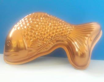 Vintage Copper Fish Jello Mold, Retro Jello Mold, Fish Design Copper Jello Mold, Jello, Vintage Kitchen, Fish Decor.