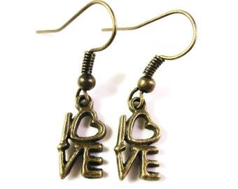 Bronze Love Earrings, Heart Earrings, Dangle Earrings, Valentine's Day Jewelry, Antique Brass Metal Charm Earrings, Women's Drop Earrings