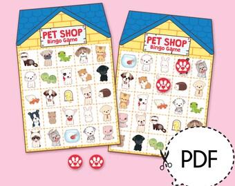 Pet Shop Animals Bingo Game Kit–Printable PDF Download