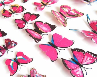 12Pc 3D PVC Butterflies Wall Stickers Decoration Wedding Cake Toppers Home Decor School Craft DIY  - Pink Magenta Shades