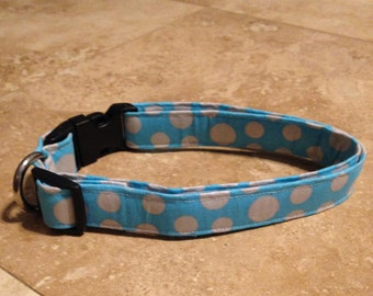 Blue Polka Dot Dog Collar - Adjustable