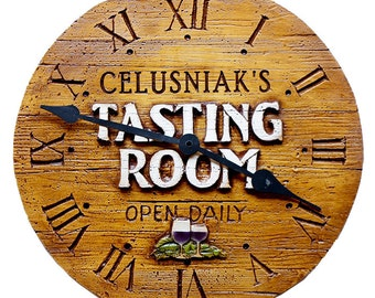 Wine Tasting Room Personalized Wall Clock