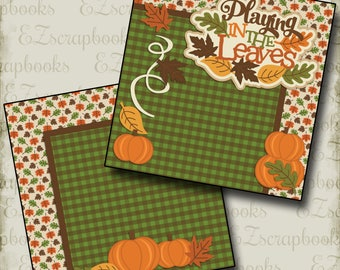 Playing in the Leaves NPM - 2 Premade Scrapbook Pages - EZ Layout 2417
