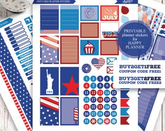 Happy Planner, 4th of July Stickers, USA Planner Kit, Happy Planner Independence, Printable Patriotic USA Stickers, MAMBI 4th July