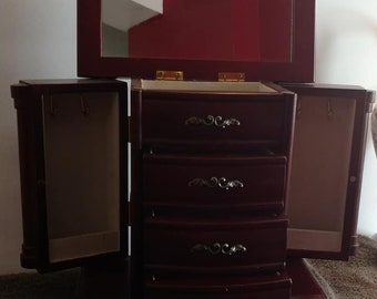 Upright Ar-moire Jewelry Chest Box Deluxe Croft & Barrow