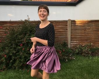 Metallic skirt, Flouncy mini skirt, Mini skirt, Purple skirt, Pink skirt, Dancing skirt, Unique clothes, Handsewn skirt, Pink mini skirt,