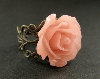 Coral Peach Rose Ring. Peach Flower Ring. Filigree Ring. Adjustable Ring. Flower Jewelry. Handmade Jewelry.