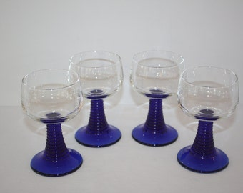 French Cobalt Stemware, Set of 4
