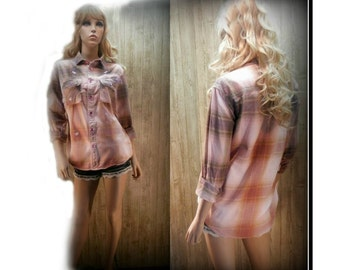 Grunge Flannel Shirt, 90s grunge shirt, Ombre shirt, Boyfriend shirt, upcycled shirt, Aeropostale shirt size med,  # ST 4