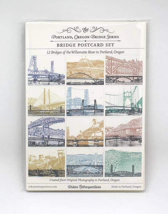 NEW!! - Bridges of Portland, Oregon - Postcard Series - Set of 12 Cards - COLOR