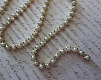 2mm White Pearl Cup Chain - Brass Setting - Preciosa Glass Pearl Rhinestone Chain