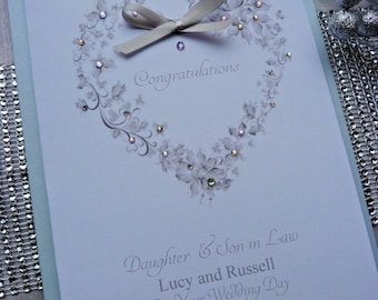 Personalised Handmade Luxury Wedding Day Card Pearlescent Insert and Envelope