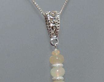 "Sterling Silver Ethiopian Opal Pendant on 18"" Chain"