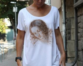 Leonardo da Vinci Picture, Women T-shirt, Loose T-shirt, White Top by CaramelTShirt