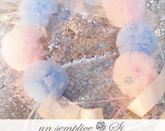 Gender Reveal Wreath Headband , Hair Pom Poms, Tulle Headband , Pom Poms,  Pom Pom Wreath, Pompons