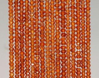 3x2mm Mandarin Garnet Gemstone Grade AAA Faceted Rondelle Loose Beads 13 inch Full Strand BULK LOT 1,2, and 6 (90184348-852)