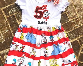 """Girls appliquéd """"Cat in the Hat"""" Dr. Seuss dress with embroidered name and birthday number"""