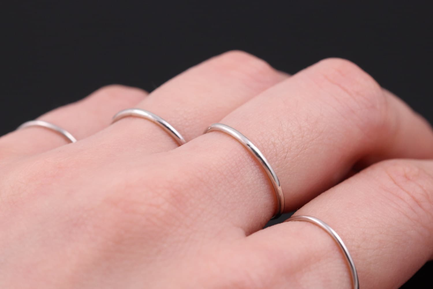 One Thin Silver Ring Sterling Silver Ring set Thin Silver