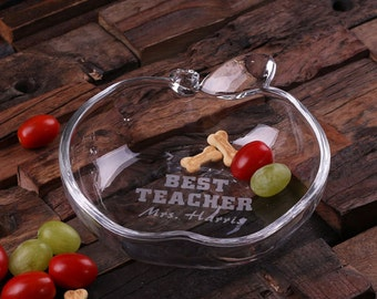 Glass Apple Shaped Bowl Etched Personalized Teacher Christmas Appreciation Gift (024584)