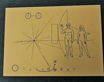 NASA Pioneer 10&11 plaque - original size, anodised aluminium