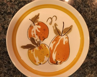 Vintage 1970s Mikasa Duplex High Summer by Ben Seibel Plate Oven to Table Dinnerware Fruit Plate
