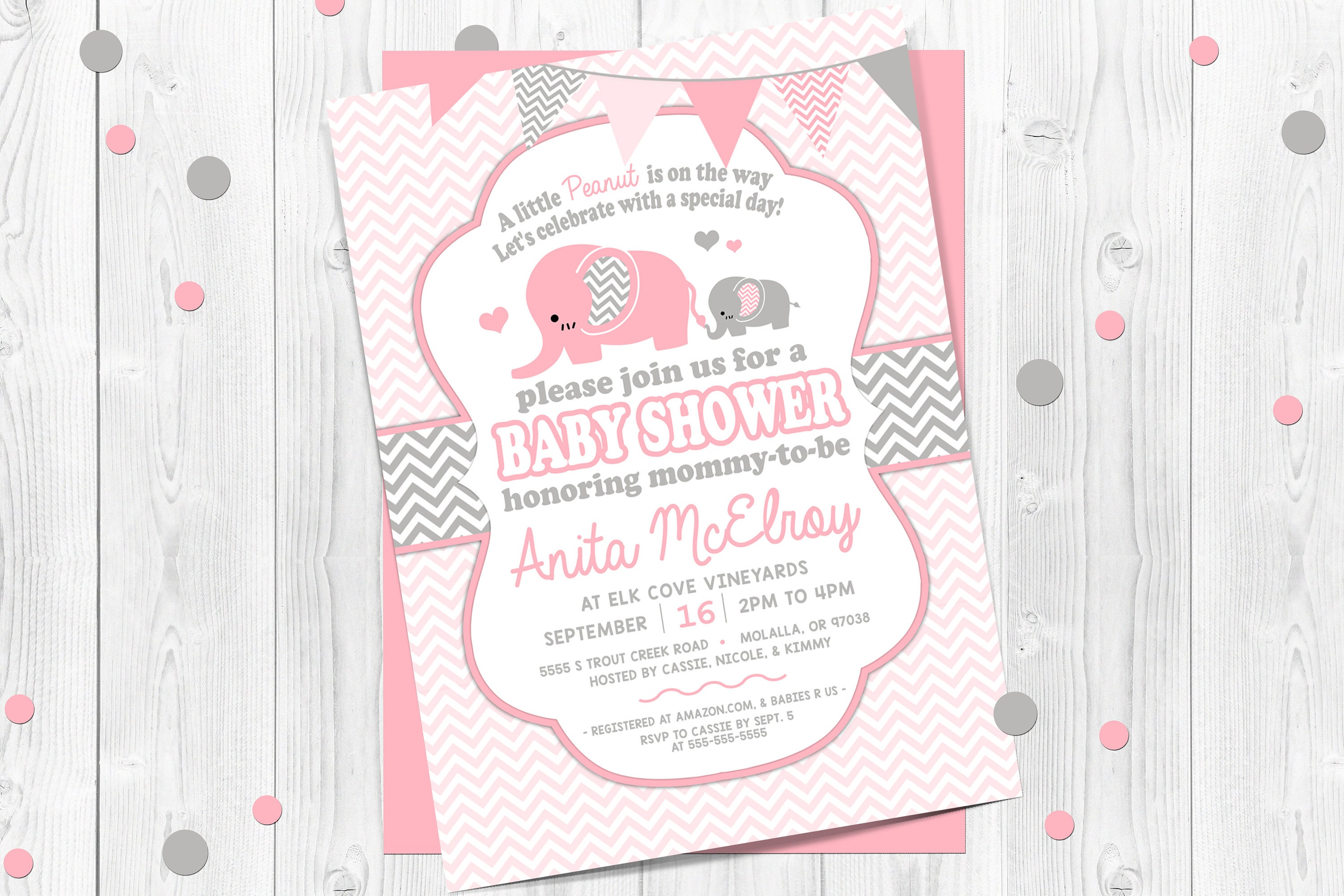 Pink Elephant Baby Shower Invitation Pink and Gray Chevron