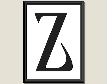 Typography Digital Print Monogram Initial Wall Art Ariosto Letter Z