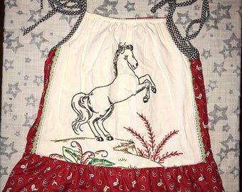 Girls size 3T Pillowcase Dress made from Vintage Embroidery - One of a Kind Cowgirl Horse