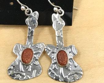 Sandstone Guitar Earrings