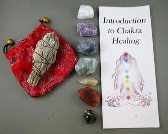 Raw Crystals Chakra Set with Sage - Smudge Kit, Chakra Kit, Meditation Crystals, Raw Crystals and Stones, Chakra Healing Energy (T090)