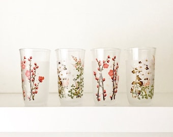 Japanese Drinking Glasses | Vintage Frosted Cherry Blossom High Ball Glasses | Frosted Juice Glasses | Bar Cart Decor