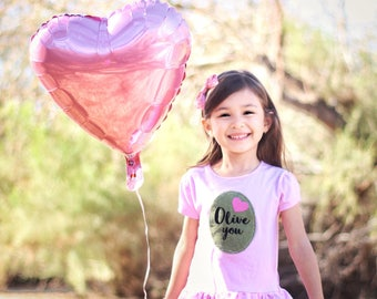 Girl Valentine Shirt, Olive You Toddler Shirt, Toddler Peplum, Girls Clothes, Valentines Day Gifts, Birthday Gift under 25, I Love You,