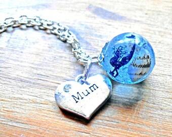 Mermaid fantasy sphere beach seashell keepsake resin pendant necklace
