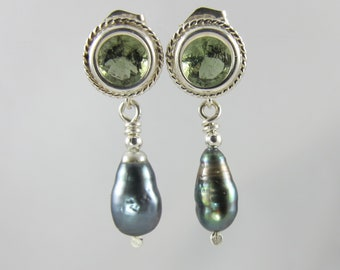 Tahitian keshi pearl and faceted Czech moldavite sterling silver post earrings 6mm round tektite meteorite