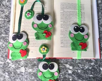 Bookmark of Felt, frog in love