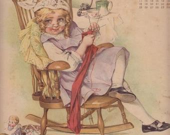 1904 Calendar Page Equitable Life Assurance Playing Grandma Maud Humphrey Art