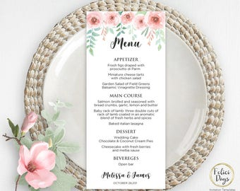 rustic wedding menu template diy wedding menu template