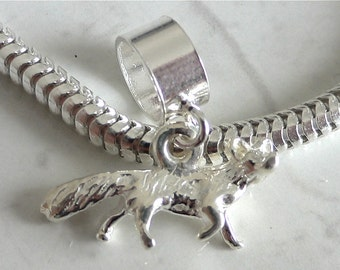 FOX Sterling Silver 3D Wild ANIMAL Charm Fits All Slide On Bracelets