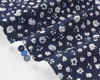 White floral silky cotton lawn fabric Navy x 50cm