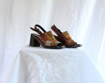 90's patchwork leather chunky sandals