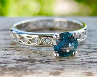 Teal Blue Montana Sapphire Engagement Ring in 14K White Gold with Vintage Inspired Floral Scroll Work Size 6