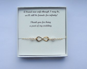 Your own message Infinity bracelet, Gold infinity pearl bracelet, Silver infinity pearl bracelet, Bridesmaids gifts, Infinity jewelry