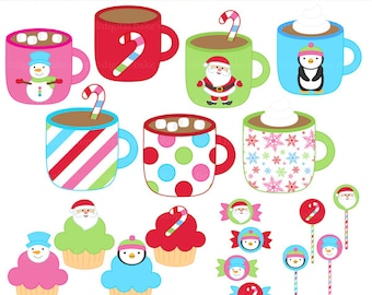 christmas clipart clip art hot chocolate candy cupcakes - Christmas Sweets Clipart - BUY 2 GET 2 FREE