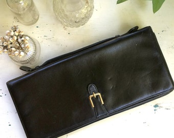 Vintage 50s-60s Black Leather Ronay Envelope Clutch / Top Handle Purse / Fully Lined / Mad Men Style