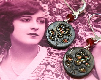 """Antique Perfume BUTTON earrings, French Victorian buttons on silver. 1.5"""" Button jewellery. Unique present, gift."""