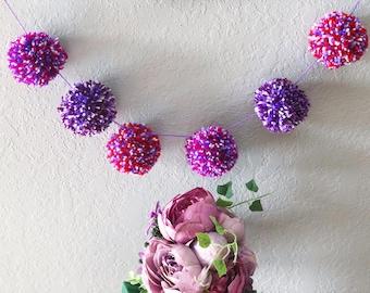 Bright Multi Colored Yarn Pom Pom Garland// Nursery Decor // Pink, Purple, White, Red Pom Poms