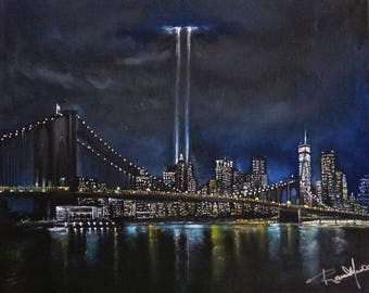 Tribute in Light 9/11, a print from the original painting of New York's 911 tribute, By Artist, Roseann Madia
