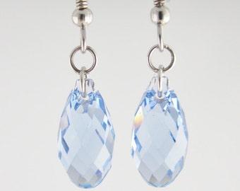 Light Blue earrings, Swarovski Briolettes Crystal Soft Blue earrings on Sterling Silver 925, multifaceted aquamarine earring