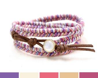 Summer Jewelry Trend, Boho Summer Bracelet, Purple Thread Bracelet, Triple Wrap Bracelet, Colorful Bracelet, Hippie Bracelet Gift Ideas